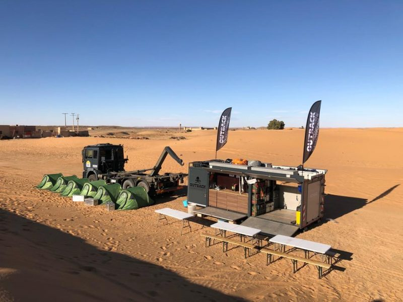 Service truck in the Desert during The Real Way to Dakar by Intercontinental Rally