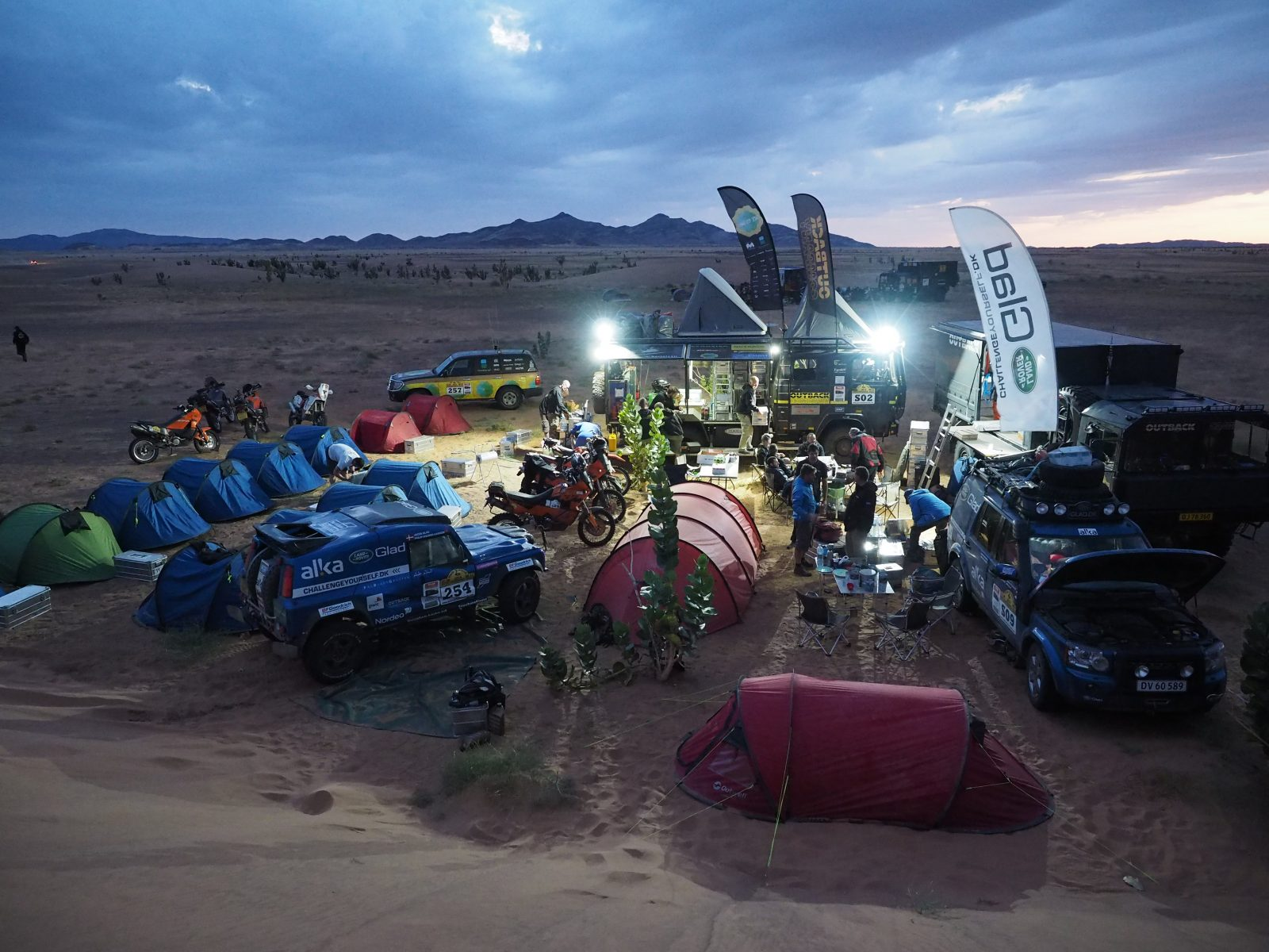 Camp in the desert during The Real Way to Dakar