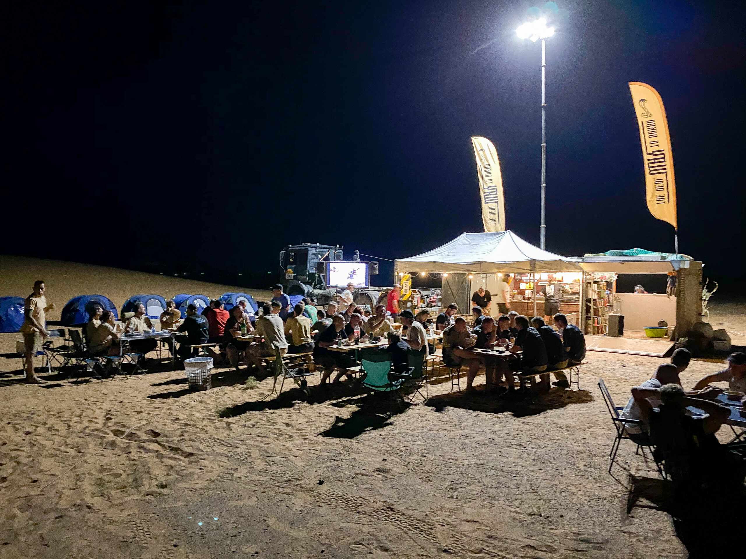 Community style dinner at the real way to dakar