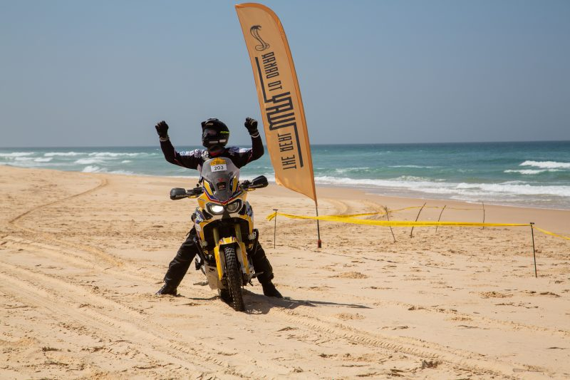 Maxime Mettra finishing the Real Way to Dakar on Moto